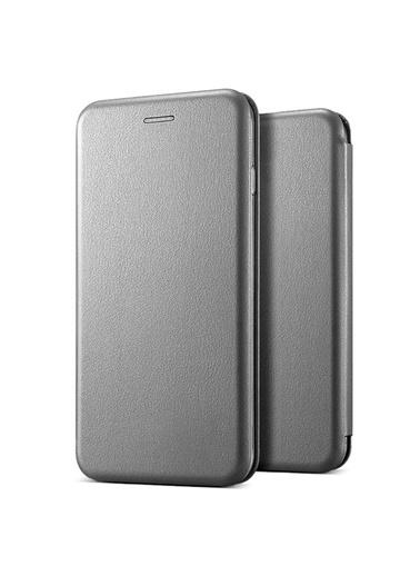 Microsonic Samsung Galaxy A50 Kılıf Ultra Slim Leather Design Flip Cover Gümüş Gümüş